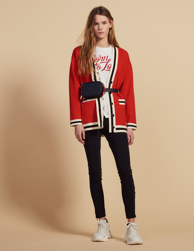 Long Cardigan With Printed Lining : Sweaters color Red