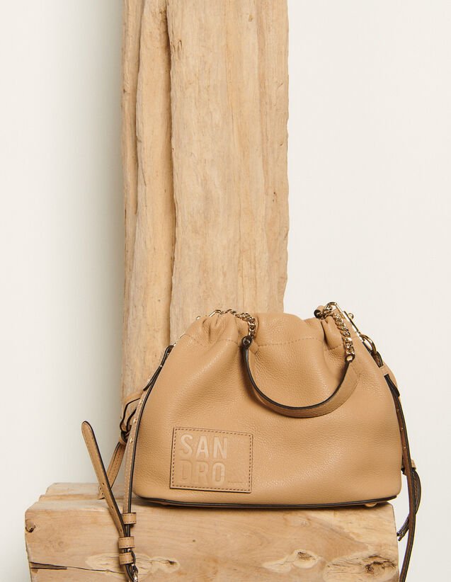 Grained leather bucket bag : Spring Pre-Collection color Orange