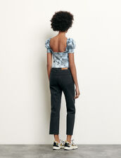 Cropped smocked top with print : Spring Pre-Collection color Blue