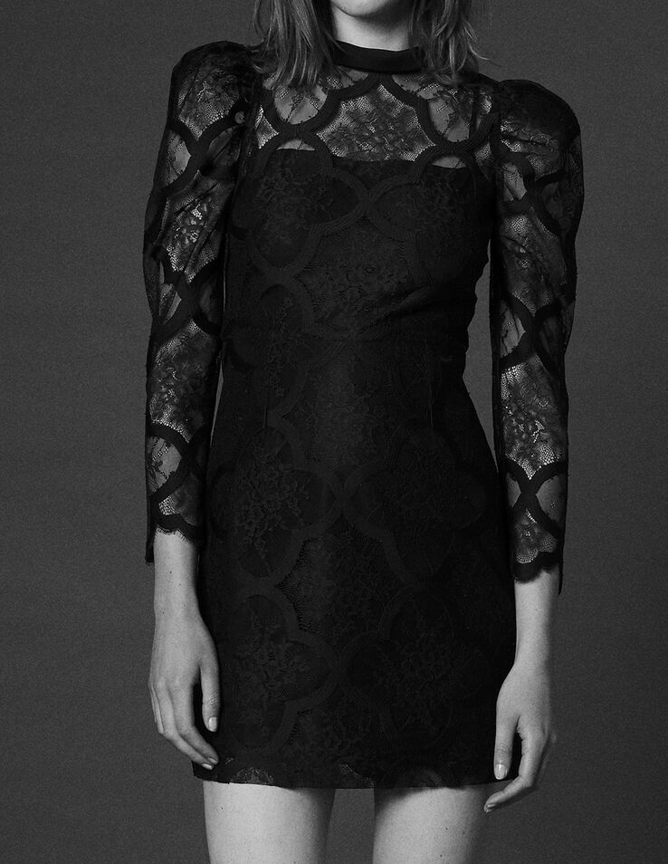 Lace Dress With Gigot Sleeves Dresses Sandro Paris