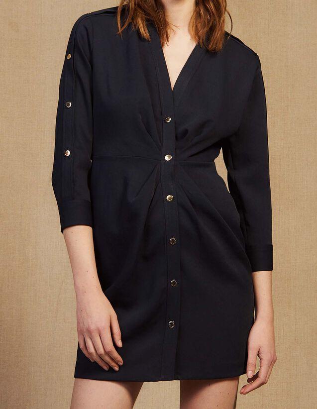 Short Dress With Gold-Tone Press Studs : Dresses color Navy Blue