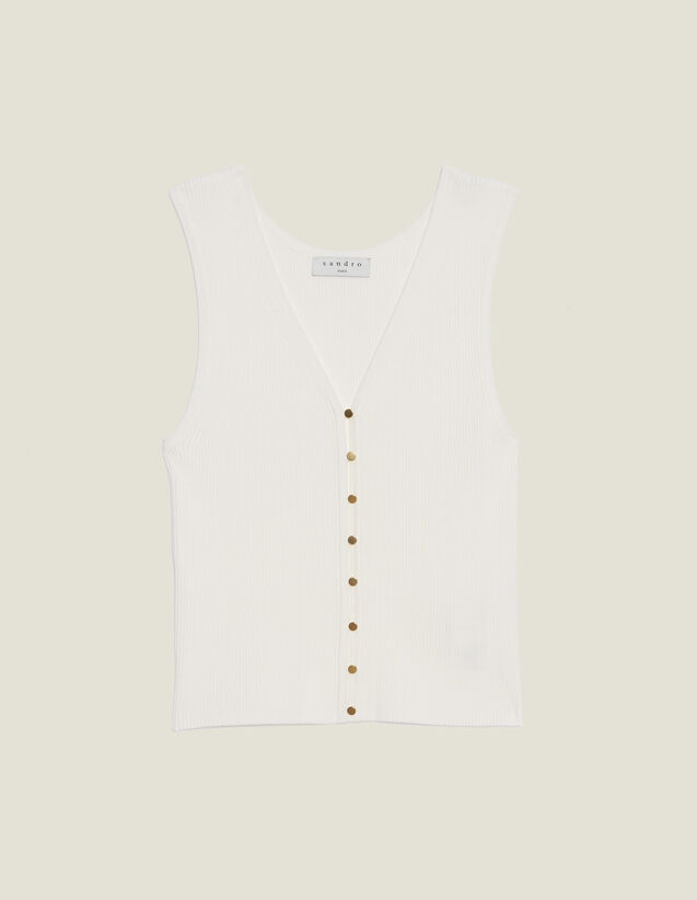 Knit Top With Jewelled Buttons : Sweaters color white