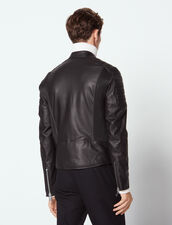 Leather Jacket With Quilted Trims : Jackets color Black