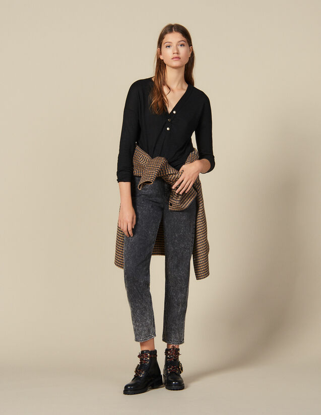 Long-Sleeved Linen T-Shirt : Tops & Shirts color Black