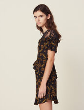 Short Printed Dress With Lace : Dresses color Black
