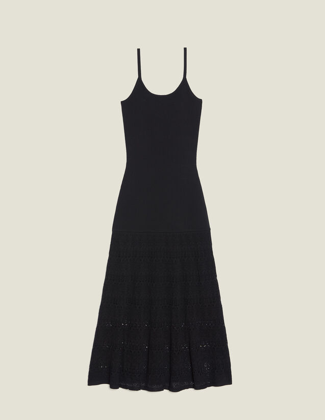 Long Knit And Crochet Dress : Dresses color Black