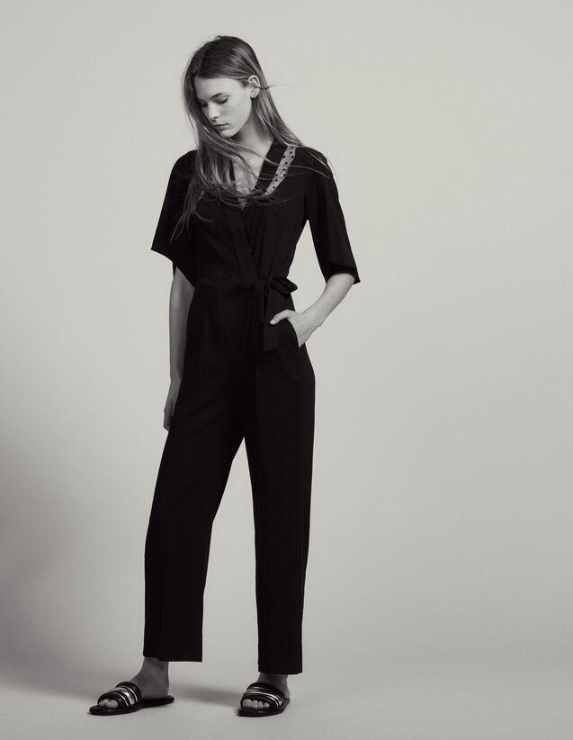 Wrapover Jumpsuit : Pants & Shorts color Black