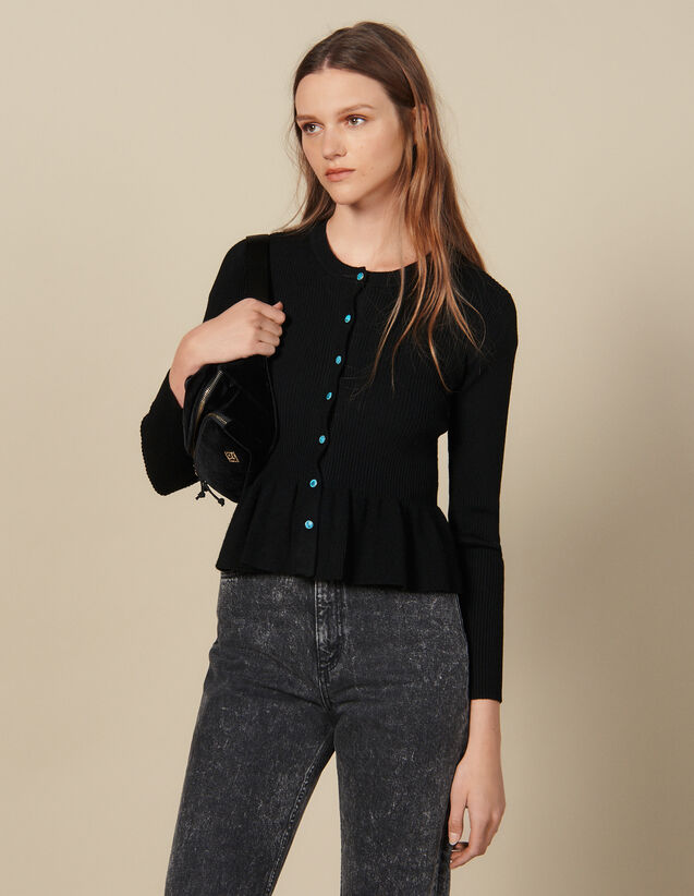 Ribbed Knit Cardigan : Sweaters & Cardigans color Black
