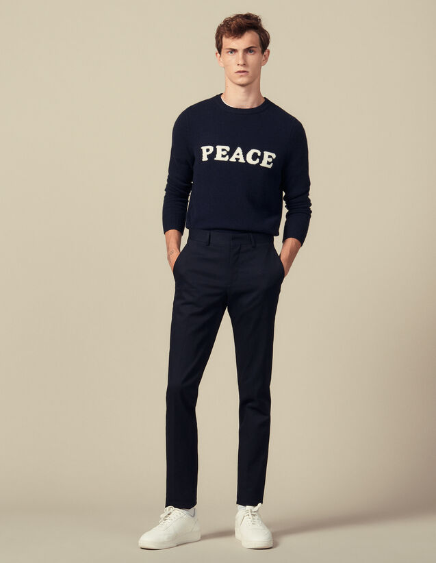 Slim-Fit Stretch Suit Pants : Pants color Navy Blue