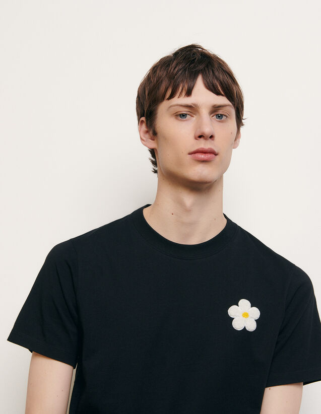 Cotton T-shirt with embroidered patch : Spring Pre-Collection color Black