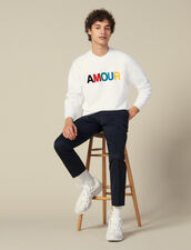 Slogan Sweatshirt In Unbrushed Fleece : Sweatshirts color white