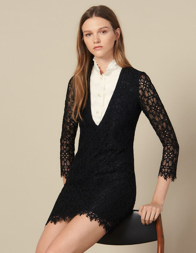 Short Dress With Layered Effect : Dresses color Black