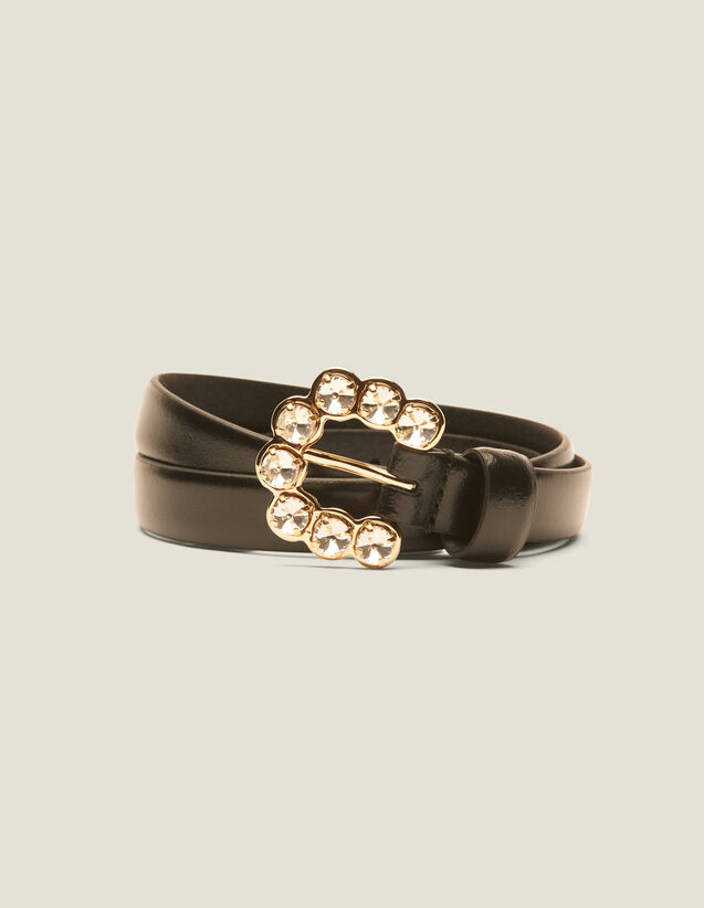 Belt With Rhinestone Buckle : Other Accessories color Black