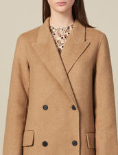 Long Double Faced Wool Coat : Coats color Beige