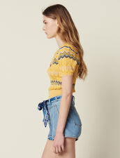 Wrapover Knit Top : Sweaters color Yellow