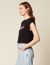 Cropped T-Shirt With Beaded Lettering : Tops & Shirts color Black