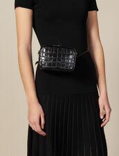 Embossed Crocodile Leather Banana Bag : Bags color Black