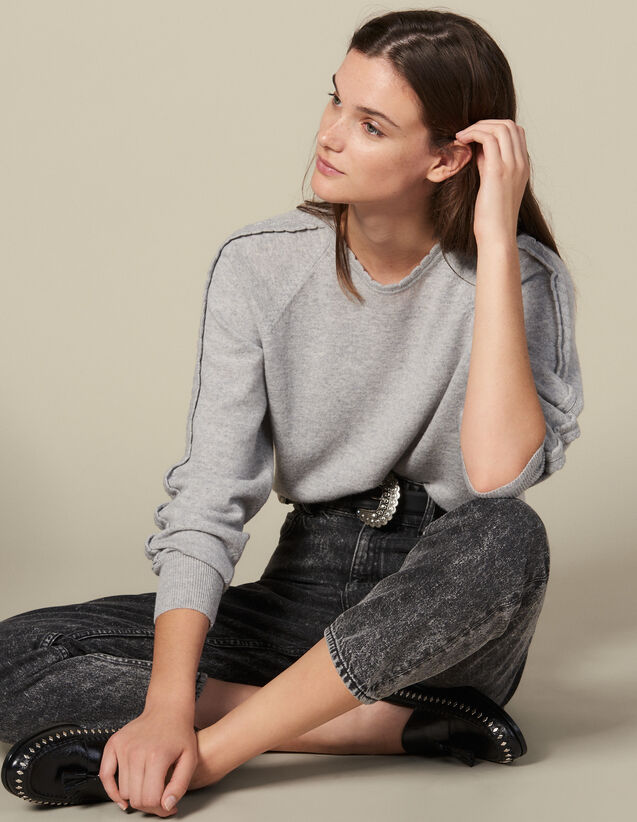 Sweater With Scalloped Trim : Sweaters & Cardigans color Light Grey
