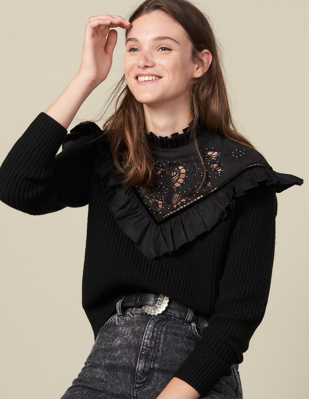 Sweater With English Embroidery Panel : Sweaters color Black