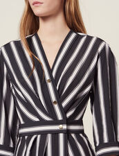 Midi Dress With Contrasting Stripes : Dresses color Black