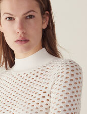 Long-Sleeved Mesh Sweater : Sweaters color white