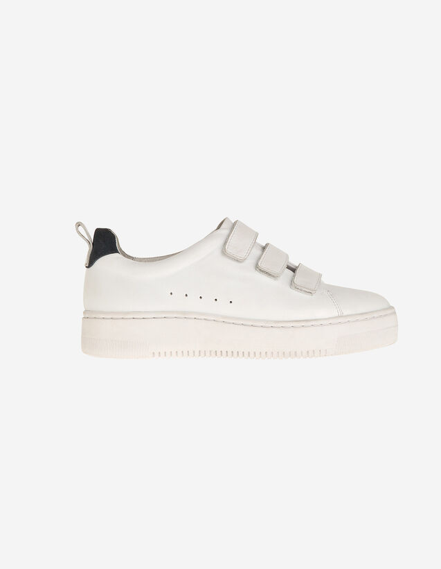 Leather Velcro Sneakers : Shoes color white