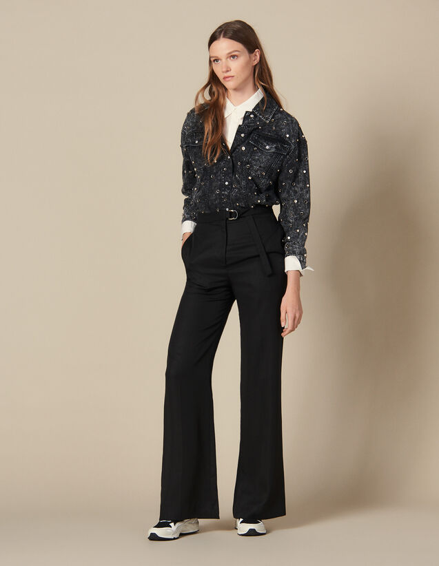 High-Waisted Wide-Leg Trousers : Pants & Shorts color Black