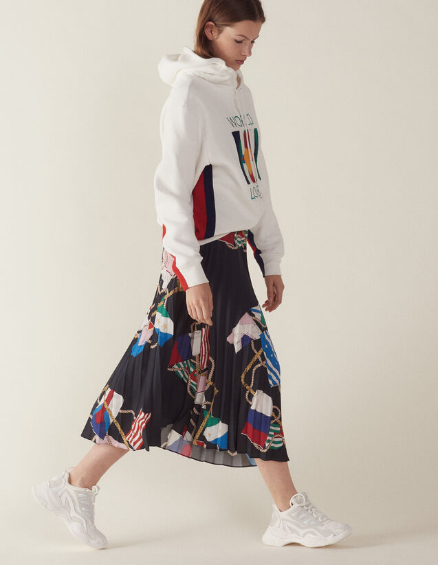 Printed Skirt With Pleats : Skirts color Black