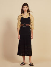 Long Knit And Crochet Dress : Dresses color Black