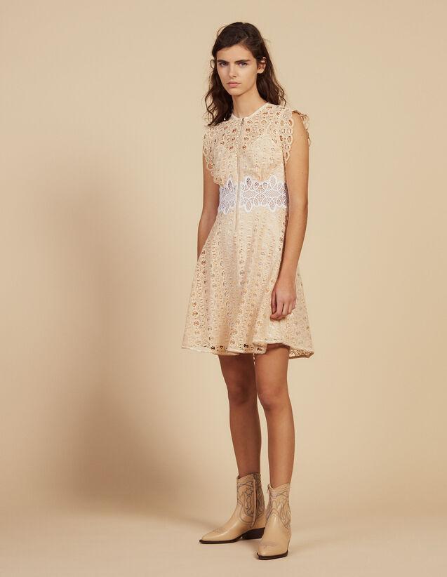 Short Guipure Dress : Dresses color Ivory