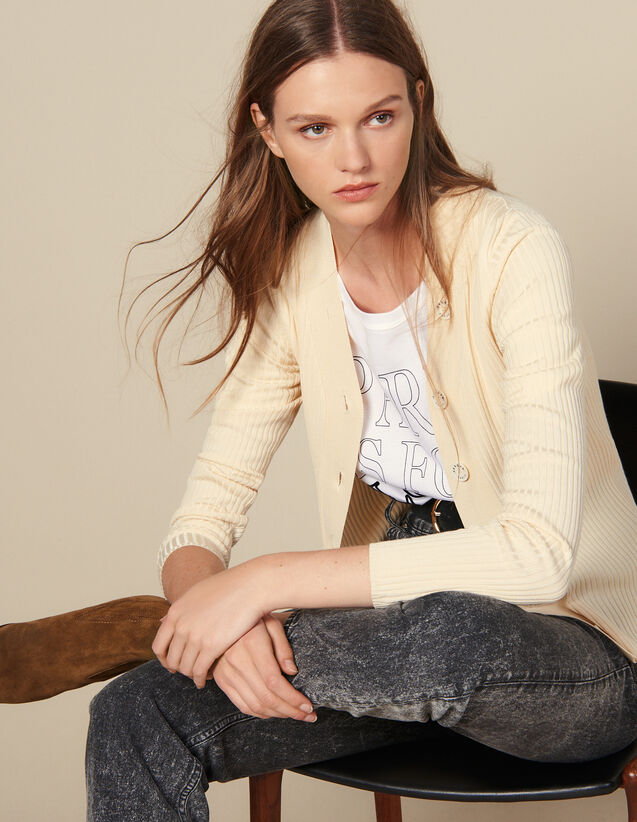 Fine Ribbed Knit Cardigan : Sweaters color Black