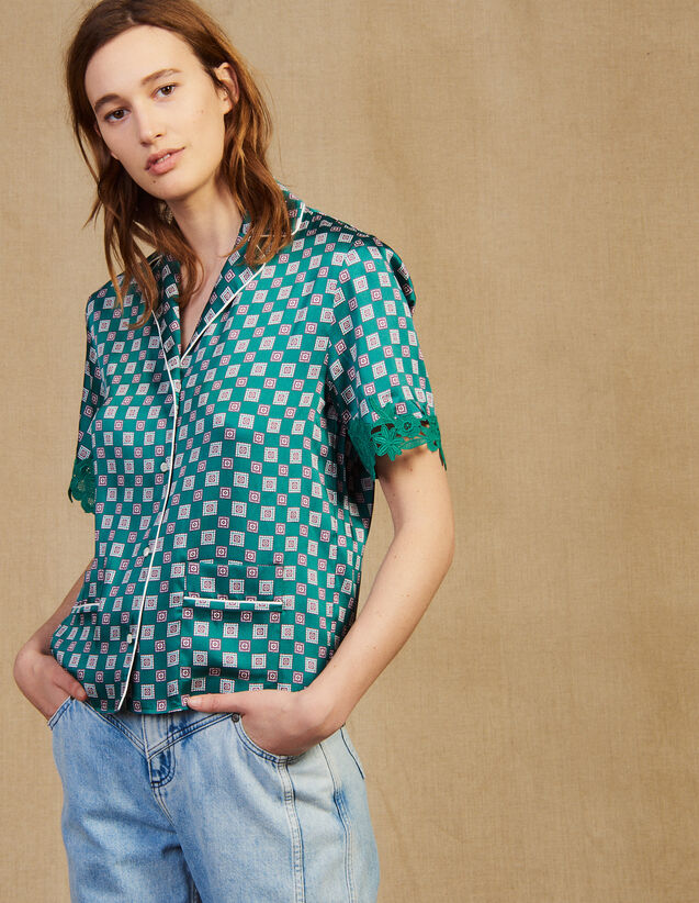 Printed Pajama Shirt : Tops & Shirts color Green