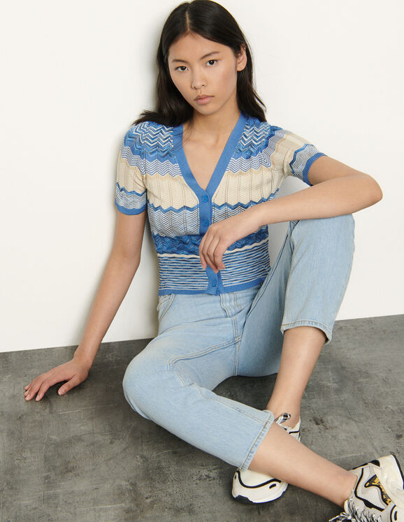 Short-sleeved striped cardigan : Tops & Shirts color Sky Blue