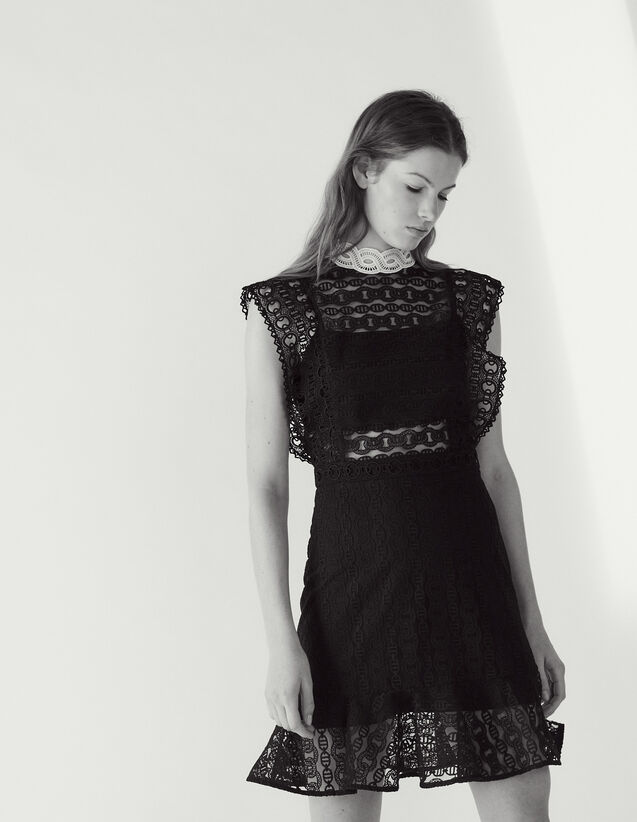 Lace Dress With Sheer Effect : Dresses color Black