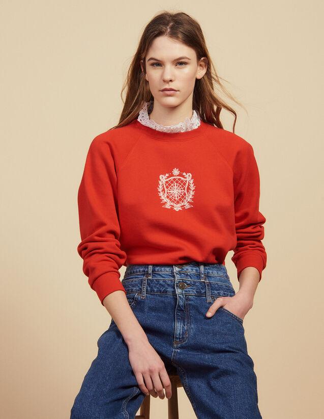 Detachable Victorian Collar Sweatshirt : Sweaters color Red