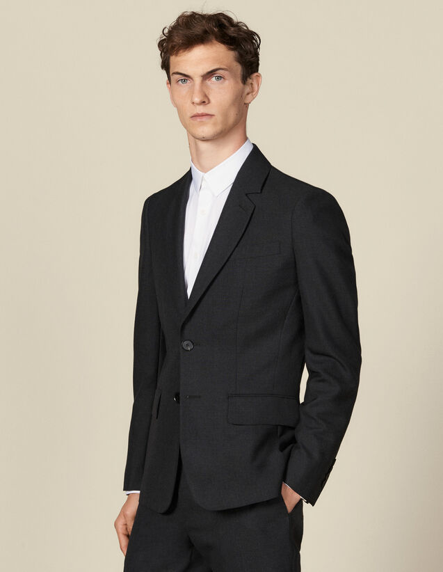 Topstitched suit jacket : Suits & Blazers color Charcoal Grey