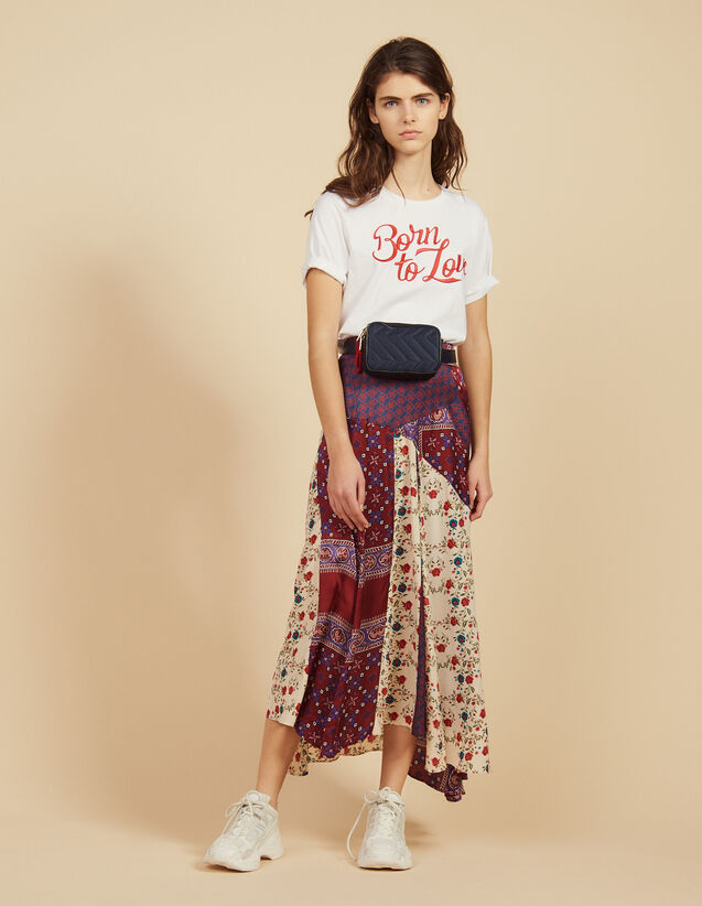 Long Patchwork Printed Skirt : Skirts color Bordeaux