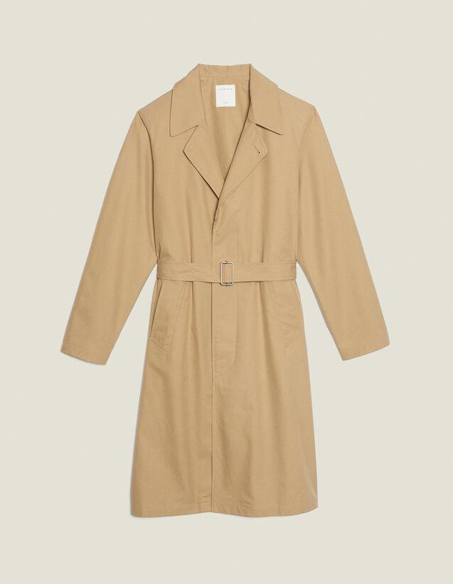 Long Cotton Trench Coat : Coats & Jackets color Beige