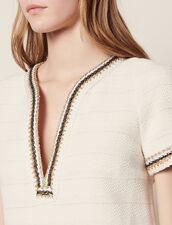 Short Tweed Dress With Braid Trim : Dresses color Ecru