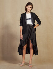 Ruffled Asymmetric Skort : Skirts color Black