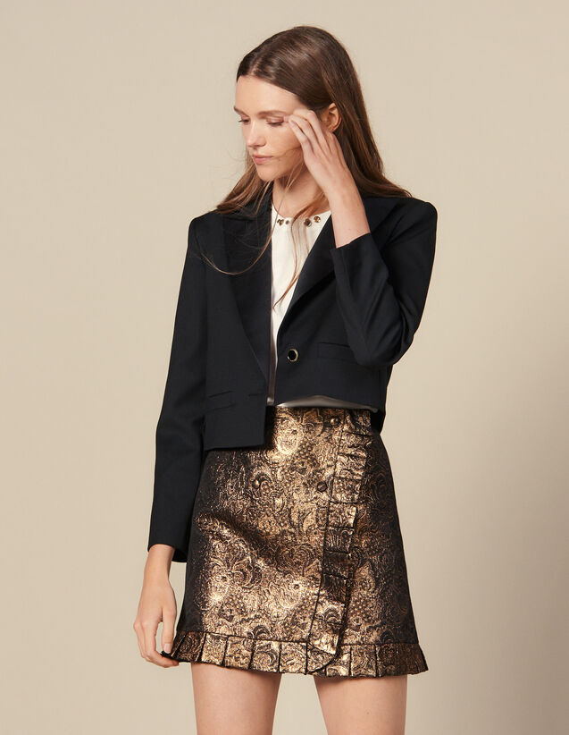 Wrapover Effect Brocade Skirt : Skirts color Gold