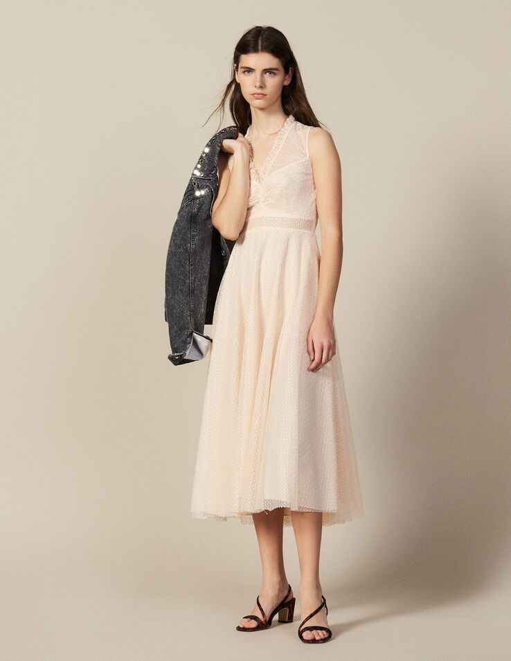 Long Embroidered Tulle Dress : Dresses color Rust