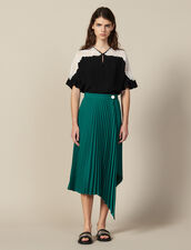 Wraparound Pleated Asymmetric Skirt : Skirts color Green