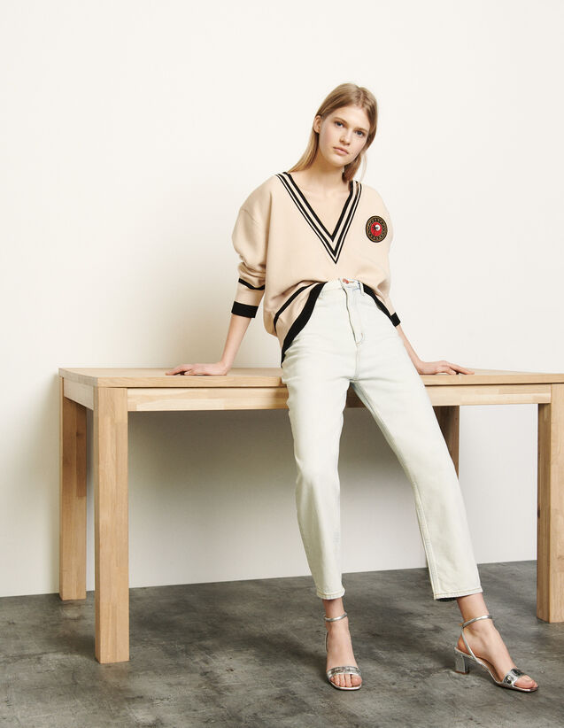 Oversized jumper with contrasting finish : Spring Pre-Collection color Beige / Black