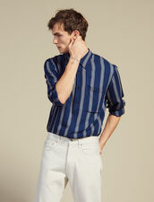 Long-Sleeved Striped Shirt : Shirts color Navy Blue