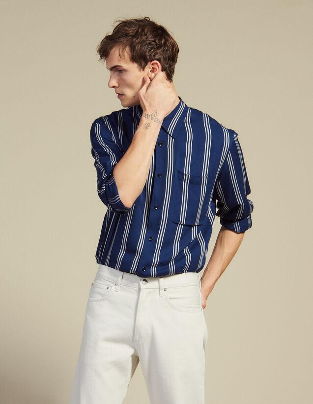 Long-Sleeved Striped Shirt : Shirts color Navy Blue