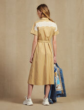 Striped Short-Sleeved Shirt Dress : Dresses color Beige