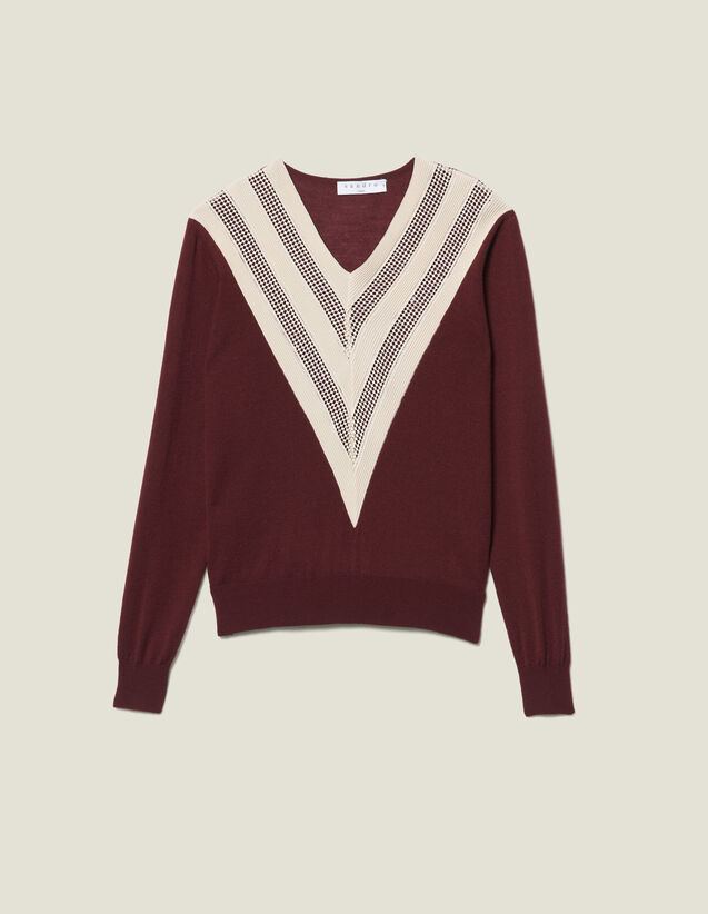 Lace-Effect V-Neck Sweater : Sweaters color Brown