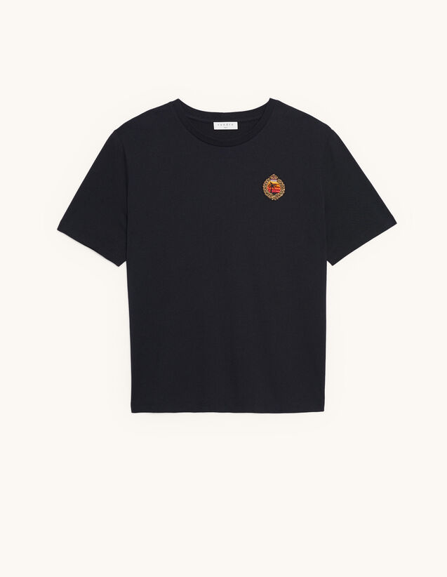T-shirt with patch on the chest : Spring Pre-Collection color Black