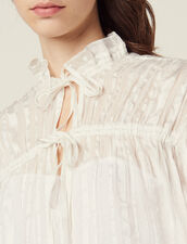 Flowing Blouse With Fine Lurex Stripes : Tops & Shirts color Ecru